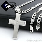 """18-40""""Stainless Steel 6mm Silver Cuban Curb Chain Bible Verse Cross Pendant*P77"""
