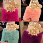 Luxury Bling Diamond Pearl Bowknot Flower Soft Rabbit Fur Furry Phone Case Cover