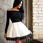 UK Womens One Shoulder Skirt Dress Lace Skater Ladies Party Mini Gift Size 6-14