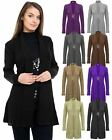 LADIES WOMENS KNITTED BOYFRIEND CROCHET CARDIGAN WATERFALL BROOCH DRESS S M L XL
