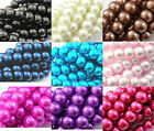 ❤ 3,4,6,8,10,12mm Glass Pearls Beads CHOOSE COLOURS SIZES Jewellery Making UK ❤