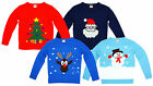 Boys Girls Toddler Xmas Rudolph Santa Snowman Pom Pom Christmas Jumper 2-6 Years