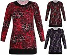 Womens Plus Size Floral Print Ladies Long Sleeve Contrast Long Tunic T-Shirt Top