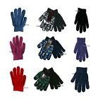 Boy's gloves black blue red green grey 3 4 5 6 7 8 years machine knitted warm