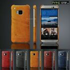 Brand new Leather hard back cover case for HTC One M9 Grey Yellow Blue Brown Red