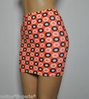 6-8 BLACK ORANGE WHITE CIRCLES LYCRA STRETCH MINI SKIRT PARTY WOMENS DANCER H33