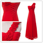 FLOWER 1 Shoulder LONG Formal Evening Ball Gown Prom Party Bridesmaid Maxi Dress
