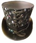 Steampunk Top hat with multi coloured skull print
