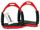 FOUR WAY FLEXI SAFETY STIRRUPS IRON S/S 4 WAY MOVEMENT IN RED/PINK AND BLACK