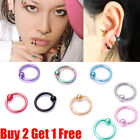 Surgical Steel Hoop Ring Ball Closure Piercing Lip Ear Nose Eyebrow 10mm*1.2mm