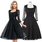 BLACK + Vintage 50's Classic LACE Party Dress Swing Pinup Circle Gown