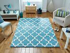 Arabesque Light Teal Blue Hand Tufted Wool Viscose Rug in various sizes & runner