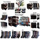 6 12 Pair Lot Men's Dress Socks Fashion Pattern Design Argyle Black 9-11 10-13