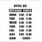 Opening Hours Times Custom Shop Window Sign Style 02 Wall Vinyl Small Sticker