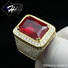 MEN 925 STERLING SILVER LAB DIAMOND ICED OUT BLING RUBY GOLD RING*SR45