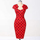 RED BLUE 1950S VINTAGE STYLE POLKA DOTS SWING PINUP TEA PARTY PROM EVENING DRESS