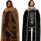 Mens Medieval Fur Cape Cloak Game OF Thrones Jon Snow Adult Fancy Dress Costume