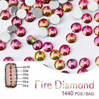 1440PCS Nail Art Rhinestone Fire Diamond Beads Flat Bottom Hot Color Choose Size