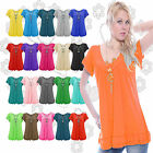 Womens Plus Size Tops Tops Frill Necklace Gypsy Ladies Tunic Short Sleeve V Neck