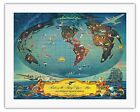 World Map Globe Flying Routes Vintage Airline Travel Art Poster Print Giclée