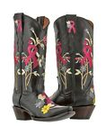 womens black pink breast cancer ribbon western cowboy boots rodeo riding snip