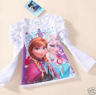 Frozen Dress Elsa Anna T Shirt White Long Sleeve  holiday play PARTY jumper new