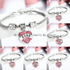 FAMILY BRACELET CHIC LOVE HEART CRYSTAL CHARM PENDANT BEADS SILVER TONE BANGLE