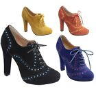 New Women's High Heel Oxford Lace Up Pumps Booties Vegan Suede 4 Colors 5.5 - 10