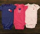 Baby Girls' Carter's Shortsleeve Bodysuit Set Lot 9 Months Like New Polka Dot