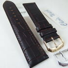 HQ 24MM MATT FACE BROWN ITALY LEATHER WATCH BAND 24/22 MM CROC GRAIN STRAP E13