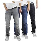 Mens Jeans Crosshatch Wayne Slim Leg Tapered Denim Pants With Belt
