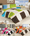 DUVET SET COVER & 2 PILLOW CASES CHECKED FLORAL 100% COTTON ZIPPED