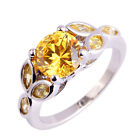 Yellow Citrine Fashion Gemstone Jewelry Women Silver Ring Size 6 7 8 9 10 11