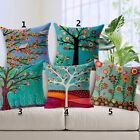 Colorful Trees&Flowers Cotton Linen Cushion Cover Throw Pillow Case Sofa Decor