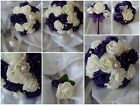 Cadbury purple bouquet,bridesmaid posy, wand, buttonholes wrist corsage, pearls