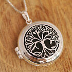 925 Sterling Silver Tree Of Life Round Locket Pendant Chain Necklace w Gift Box