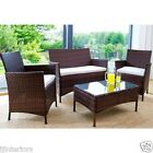 RATTAN GARDEN FURNITURE SET 4 PIECE CHAIRS SOFA TABLE OUTDOOR PATIO CONSERVATORY