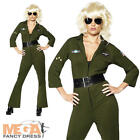 Top Gun Ladies Aviator Army Fancy Dress 80s Costume