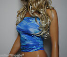 BLUE WAVES GLITTER BOOB TUBE CROP TOP LYCRA STRAPLESS BANDEAU CLUBWEAR PARTY W39