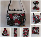 SKULL ROSES MESSENGER CHANGING BABY BAG MAT NAPPY SACK PURSE PRAM BOW RETRO GOTH