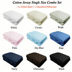 100% Cotton JERSEY T-Shirt Combo Fitted Sheet + Pillowcase - SINGLE SIZE