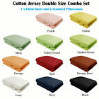 100% Cotton JERSEY T-Shirt Combo Fitted Sheet + 2 Pillowcases - DOUBLE SIZE