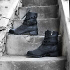 ByTheR Black Faux Leather High Quality Metal Studs Fashionable Comfy Biker Boots
