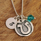 925 Sterling Silver Personalised Lucky Horseshoe Pendant Necklace &Initial Boxed