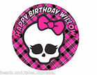 Monster High Doll Pink black Party Cake Decoration icing sheet personalised