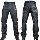 Peviani Mens g combat jeans, cargo black star denim, hip hop  straight-loose apl
