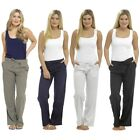 Ladies Linen Trousers Womens Casual Pants Holiday Basics UK Sizes 10 12 14 16 18