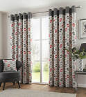 Red & Charcoal 100% Cotton Ring top Curtains.3 sizes on menu.Next Day Delivery .
