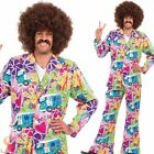 Mens Adult 60s 70s Hippie Hippy Psychedelic Suit Fancy Dress Costume With Flares
