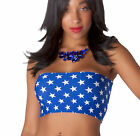 BOOB TUBE Top BLUE White STARS Lycra Wonder Woman Fancy Dress Bandeau Club B62
